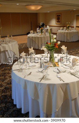 Elegant wedding reception area, ready for guests and the bridal party - stock photo