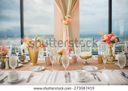 Elegant Wedding Reception table decor and centerpieces - stock photo