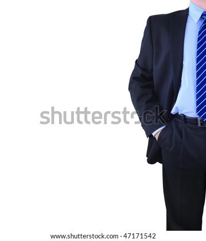 Elegant well-dressed businessman isolated over white - stock photo
