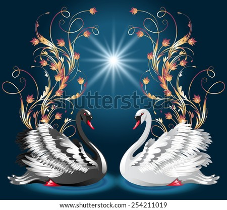 Elegant white and black swan on blue background  and golden floral ornament  - stock photo