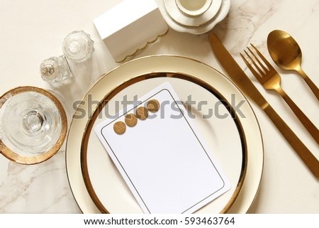 Elegant White Gold Table Setting Menu Stock Photo (Royalty Free) 593463764 - Shutterstock & Elegant White Gold Table Setting Menu Stock Photo (Royalty Free ...