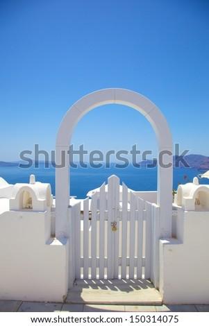 elegant white door - stock photo