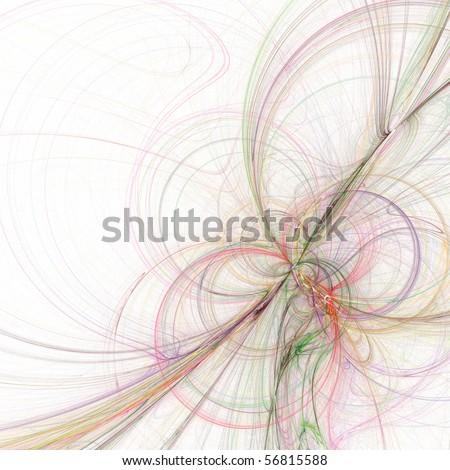 Elegant white fractal background - stock photo