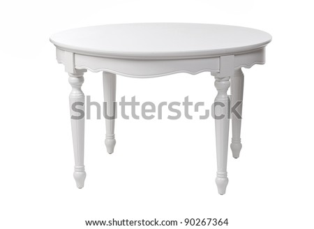 Elegant white table, with clipping path - stock photo
