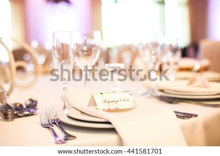Elegant wine & champagne glasses at wedding reception closeup - stock photo