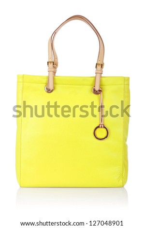 Elegant woman bag isolated on white - stock photo