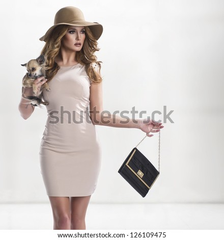 Elegant woman holding a small dog - stock photo