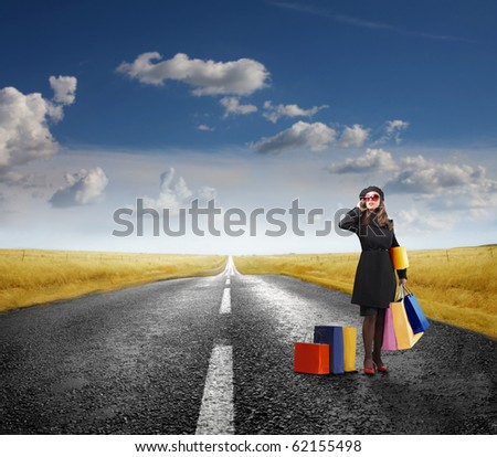 Elegant woman holding some shopping bags standing on a road - stock photo