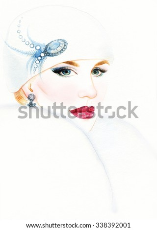 Elegant woman in hat, winter accessories. Young beauty woman with hat. Watercolor illustration