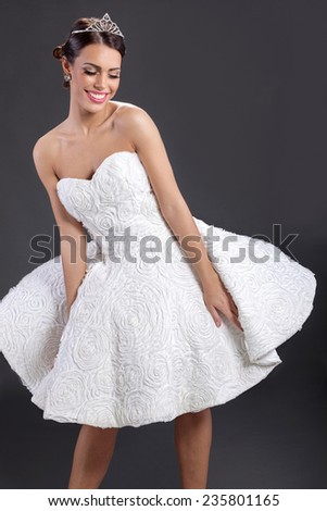 elegant woman in wedding dress - stock photo