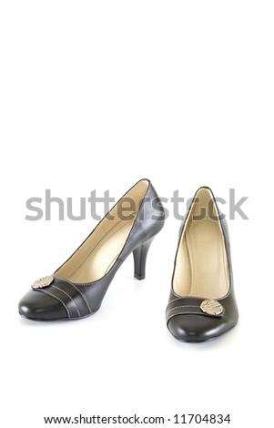 Elegant woman shoes isolated on white - stock photo