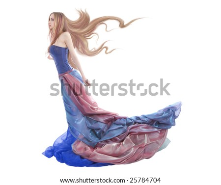 Elegant woman wearing colorful dress isolated on white - stock photo