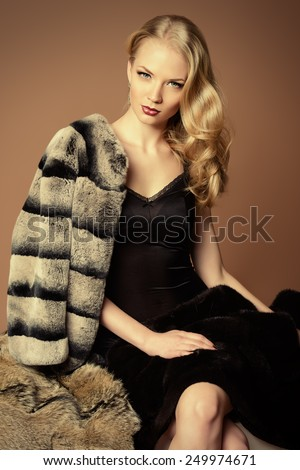 Elegant woman with beautiful blonde hair posing in furs. Luxury, rich lifestyle. Fashion photo. - stock photo