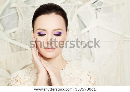 Elegant Woman with Beautiful Makeup - stock photo
