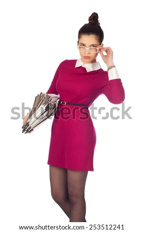 Elegant woman with files  - stock photo