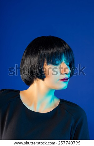 Elegant woman with short stylish hairstyle - stock photo