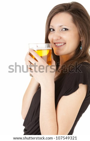 elegant woman with the mug of beer, white background
