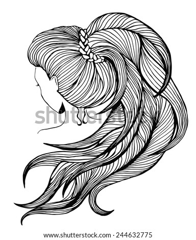 Elegant women with long ponytail. View from the back. Line art. - stock photo