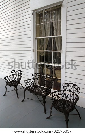 Elegant wrought iron furniture of historic homes