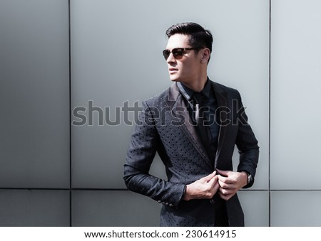 Elegant young handsome man. Fashion portrait - stock photo