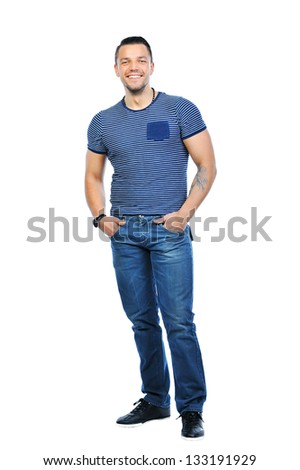 Elegant young handsome man - full length portrait - stock photo