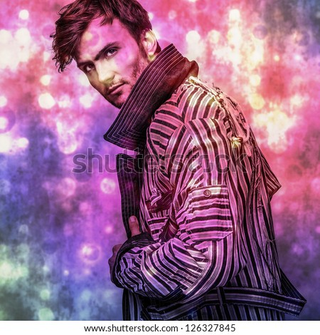 Elegant young handsome man..Multicolored digital painted image portrait of men face. - stock photo