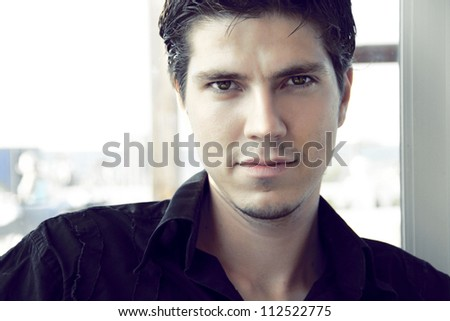 Elegant young handsome man. Portrait - stock photo
