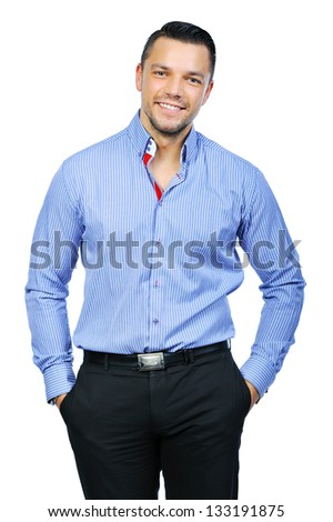 Elegant young handsome man - portrait - stock photo
