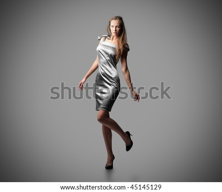 elegant young woman isolated - stock photo