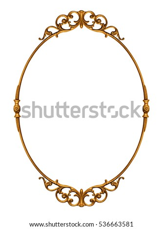 Elegantly golden antique frame isolated on white