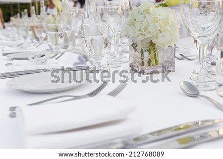 Elegantly served dinner plates and grasses - stock photo