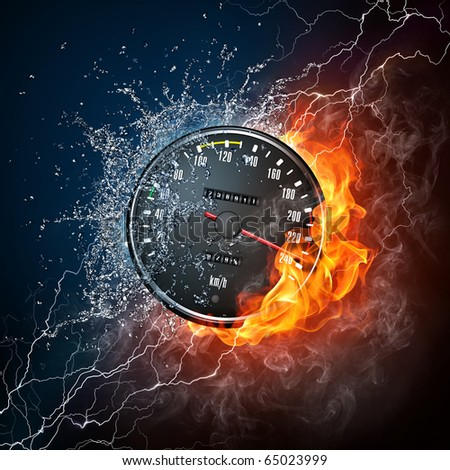 Element car speedometer. Illustration of the speedometer enveloped in flame and water isolated on black background. High resolution speedometer in fire and water image for a car race poster. - stock photo