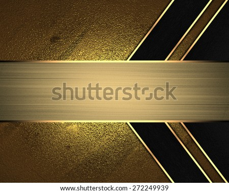 Element for design. Template for design. Abstract gold background with black lines and gold nameplate - stock photo