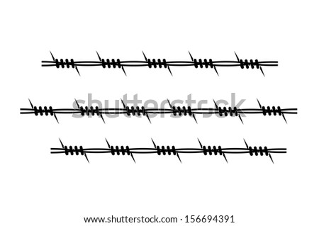 element of barbed wire on a white background - stock photo