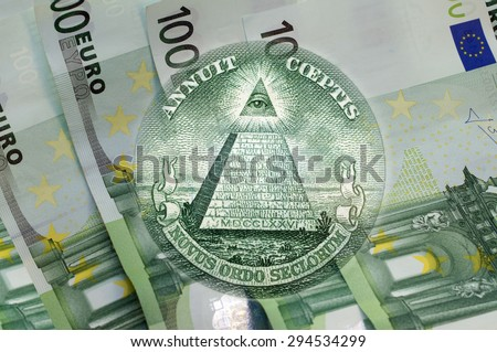 Element of the image of United States one-dollar bill, pyramid, Eye of Providence above one hundred euros banknotes. Conceptual photo for your successful business design. Macro - stock photo