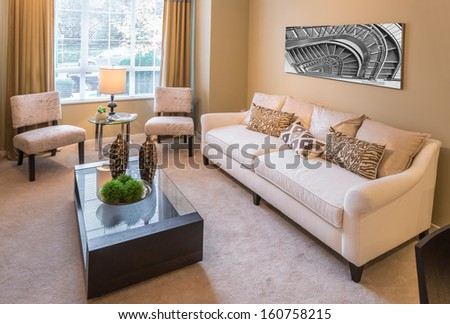 Element of the modern comfortable, nicely decorated, elegant luxury master bedroom. Reflection in the mirrors Interior design. - stock photo