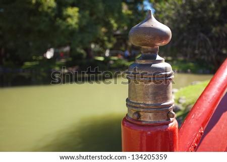 element of the red bridge in Japanese Garden - stock photo