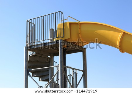 Element of water slide at the playground