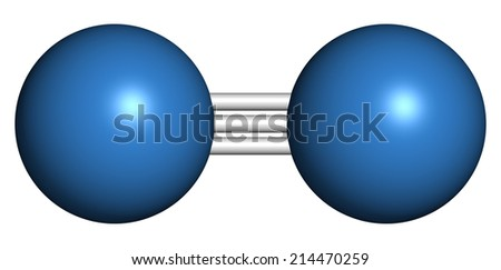 Elemental nitrogen (N2) molecule. Nitrogen gas is the main component of the Earth's atmosphere. Atoms shown as color coded spheres.  - stock photo