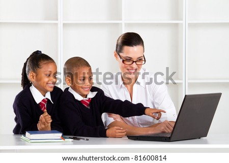 elementary computer class - stock photo