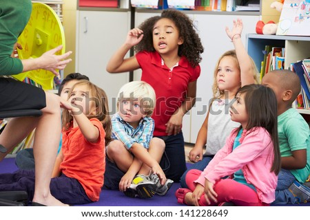 Elementary Pupils In Classroom Learning To Tell The Time - stock photo