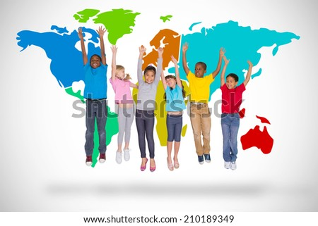 Elementary pupils jumping against white background with world map