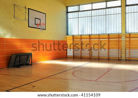 elementary school gym indoor - stock photo