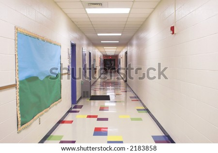 Elementary School Hallway - stock photo
