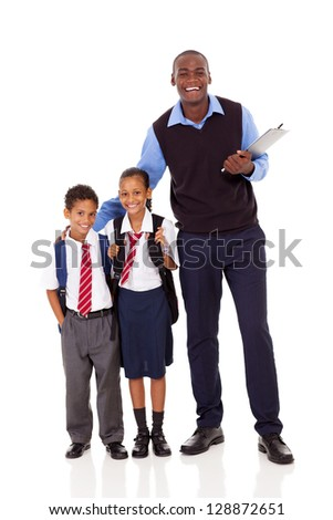 elementary school teacher and students full length portrait on white