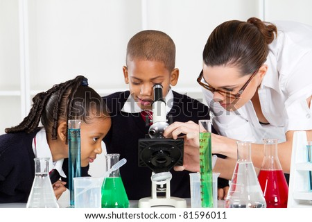 elementary science class - stock photo