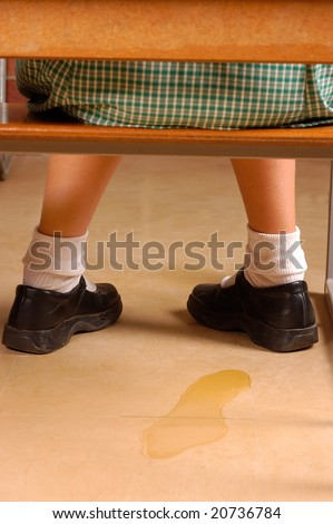 Elementary student with a weak bladder - stock photo