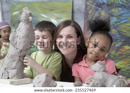 Elementary Students and Teacher - stock photo