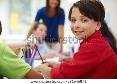 Elementary students during their lesson - stock photo