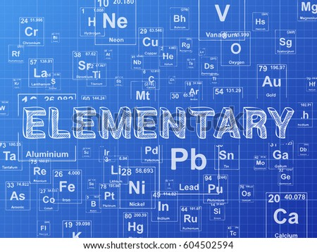 Elementary word on periodic table symbols stock illustration elementary word on periodic table symbols blueprint background urtaz Image collections
